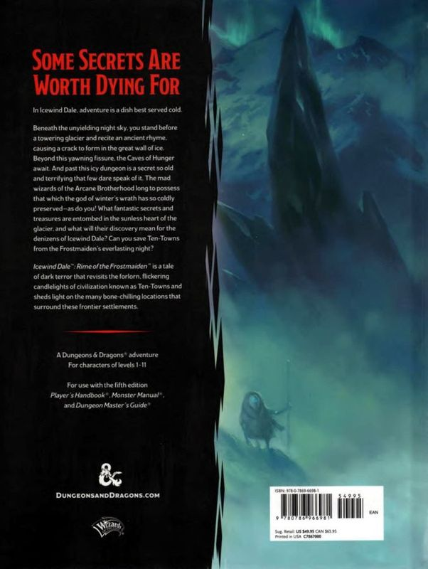 Icewind Dale: Rime of the Frostmaiden back of the box