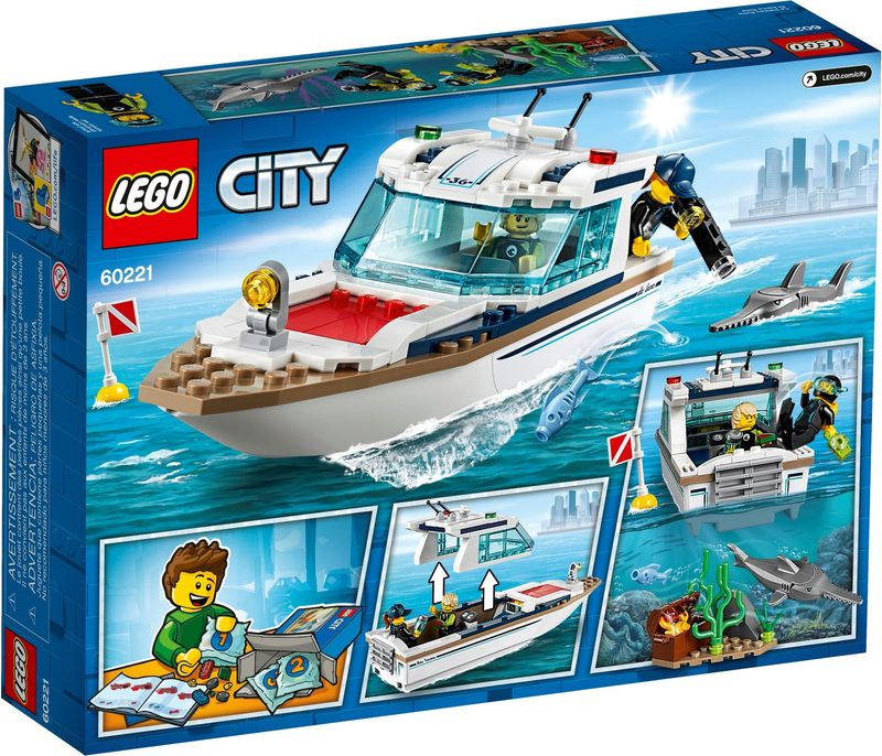 LEGO® City Diving Yacht back of the box