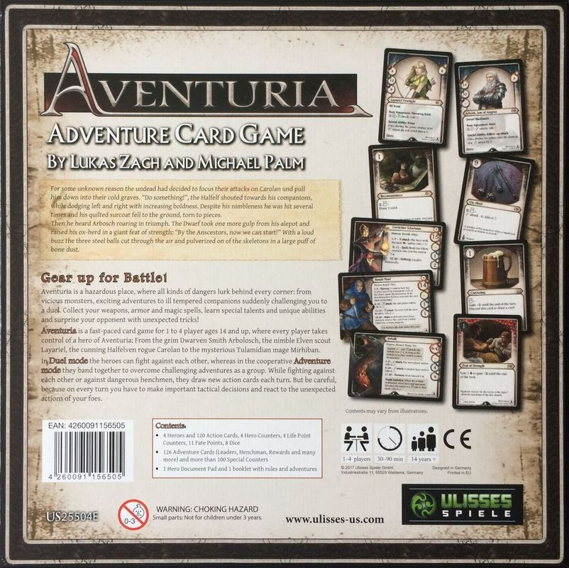 Aventuria Adventure Card Game back of the box