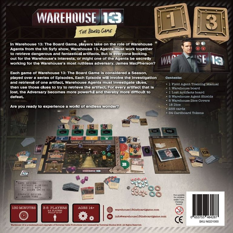 Warehouse 13: The Board Game back of the box
