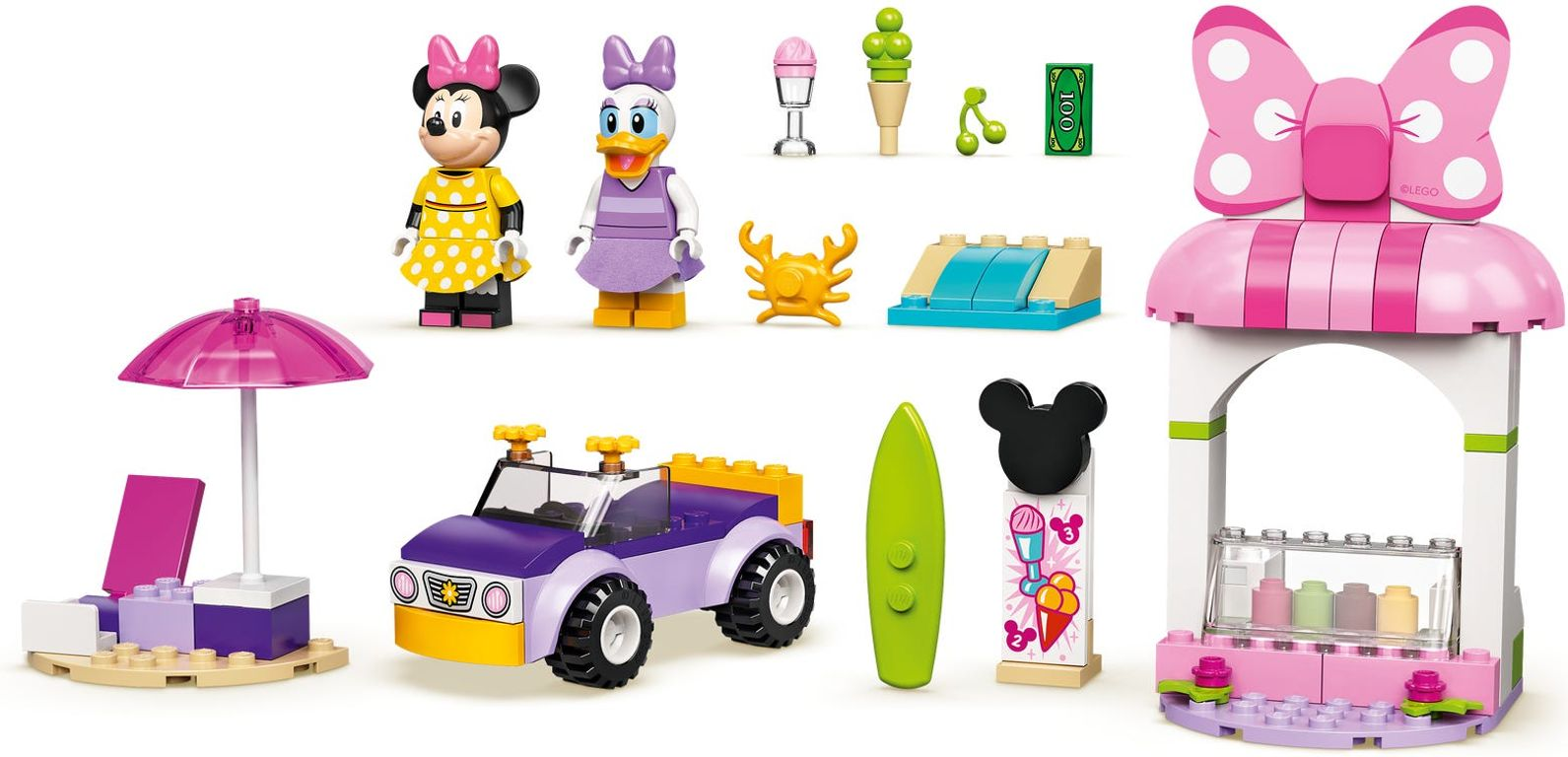 LEGO® Disney Minnie Mouse's Ice Cream Shop components