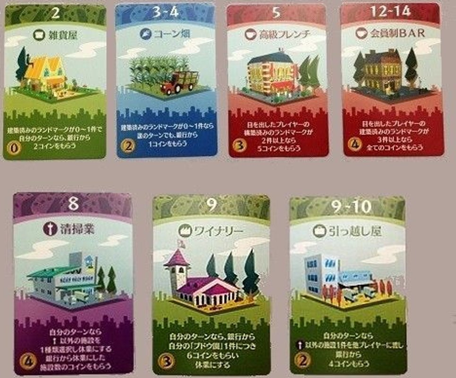 Machi Koro Millionaire's Row cards