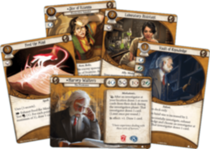 Arkham Horror: The Card Game – Harvey Walters: Investigator Starter Deck cards