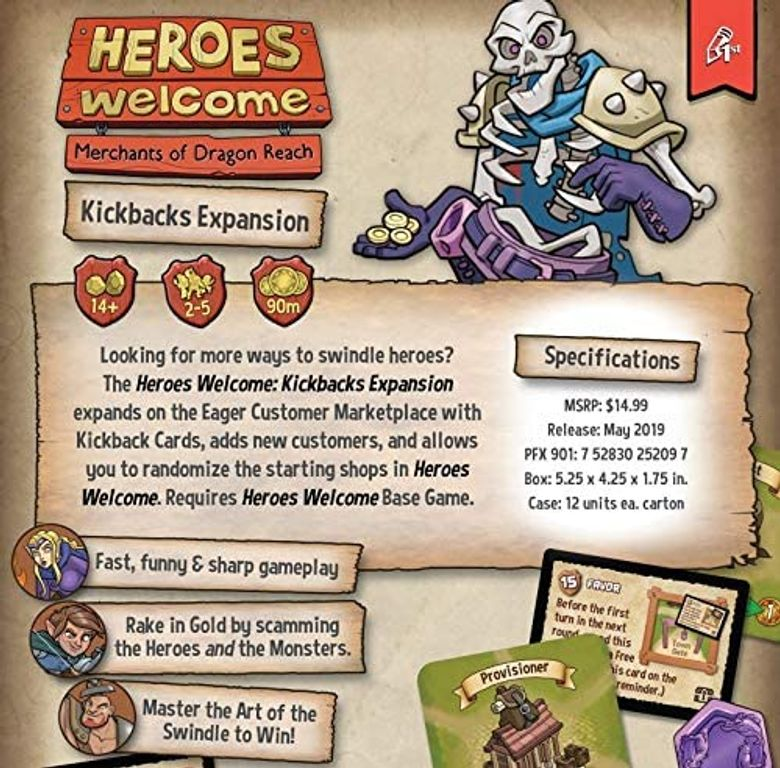 Heroes Welcome: Kickbacks Expansion back of the box