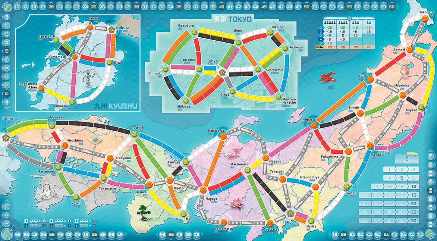 Ticket to Ride Map Collection: Volume 7 - Japan & Italy game board