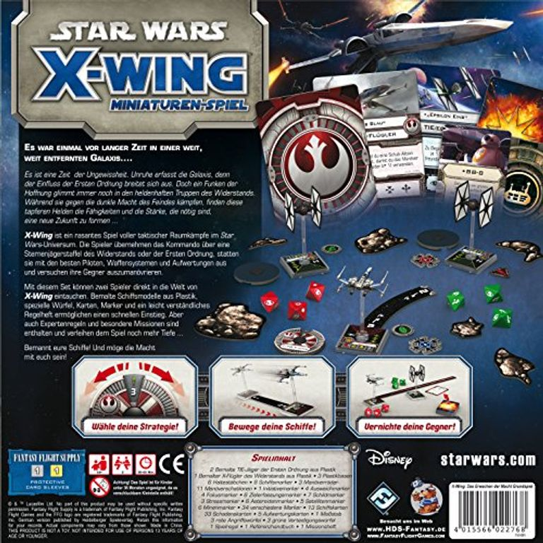 Star Wars: X-Wing Miniatures Game - The Force Awakens Core Set back of the box