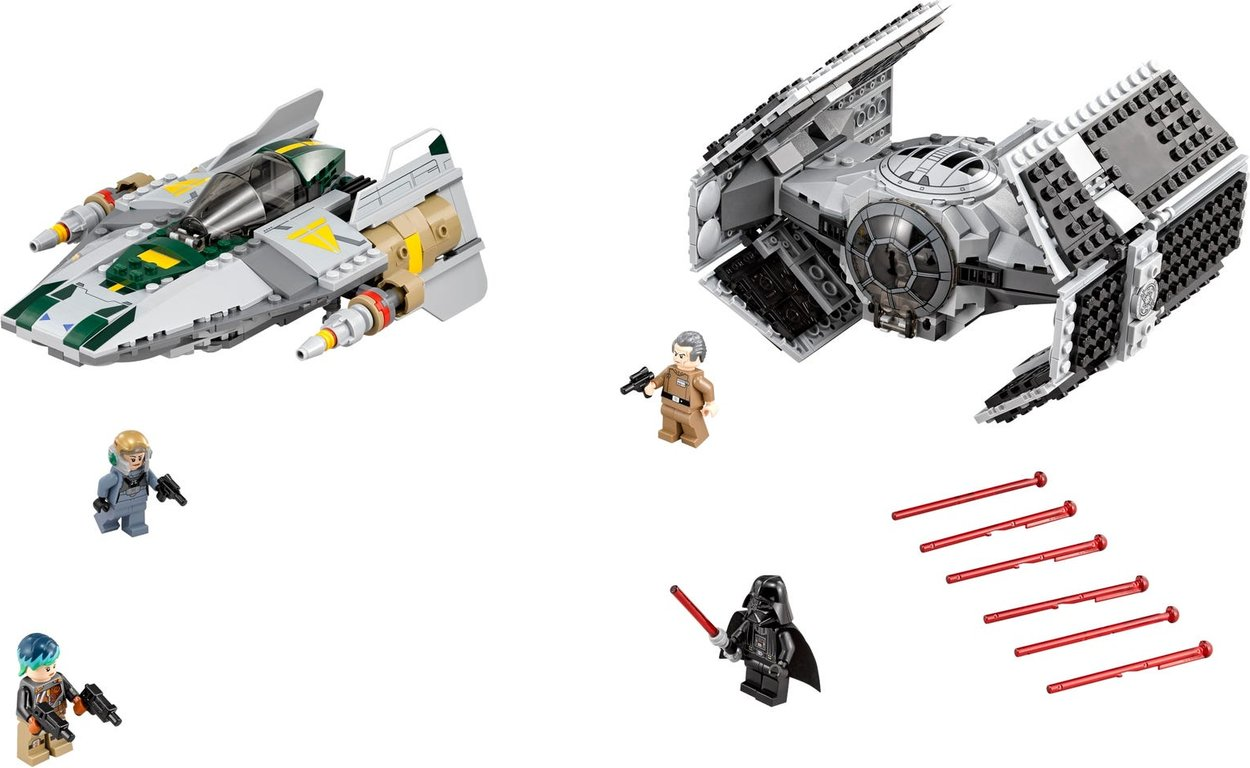 LEGO® Star Wars Vader's TIE Advanced vs. A-Wing Starfighter components