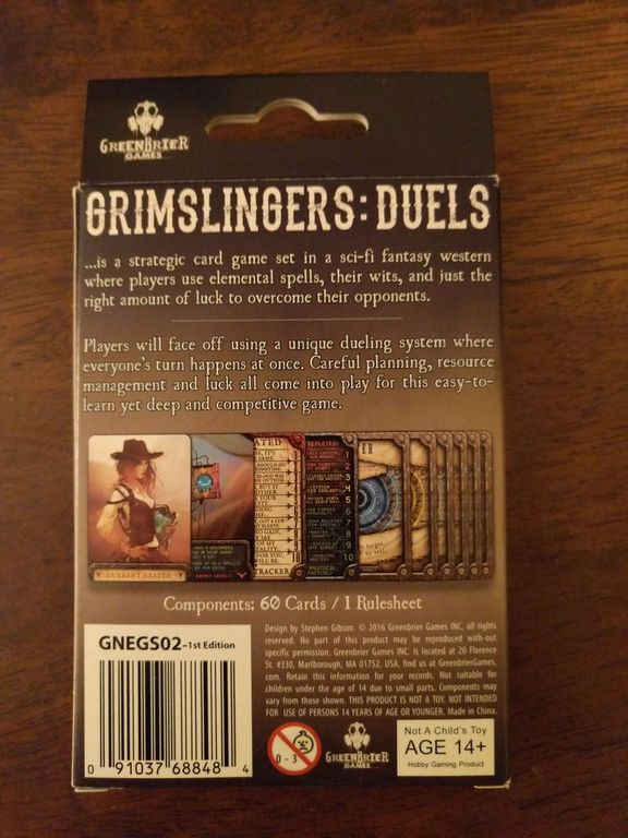 Grimslingers: Duels back of the box