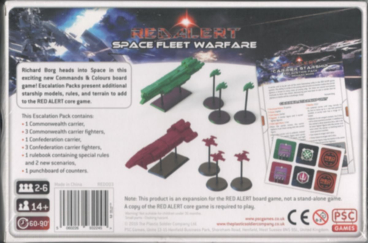Red Alert: Space Fleet Warfare – Carrier Starship Escalation Pack back of the box