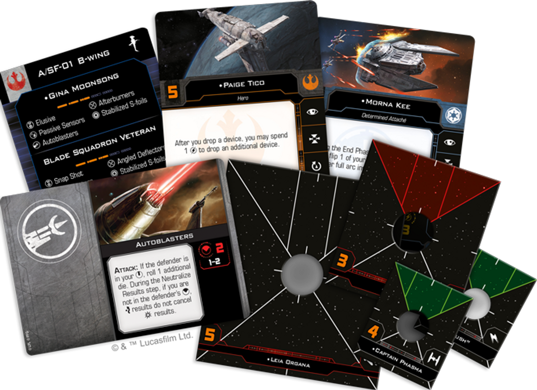 Star Wars: X-Wing (Second Edition) – Hotshots and Aces Reinforcements Pack components