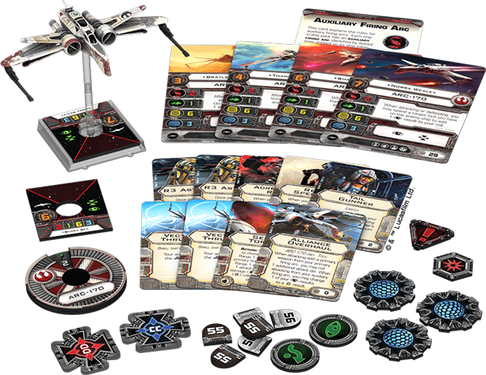 Star Wars: X-Wing Miniatures Game - ARC-170 Expansion Pack components