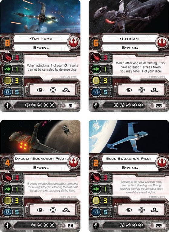 Star Wars: X-Wing Miniatures Game – B-Wing Expansion Pack cards