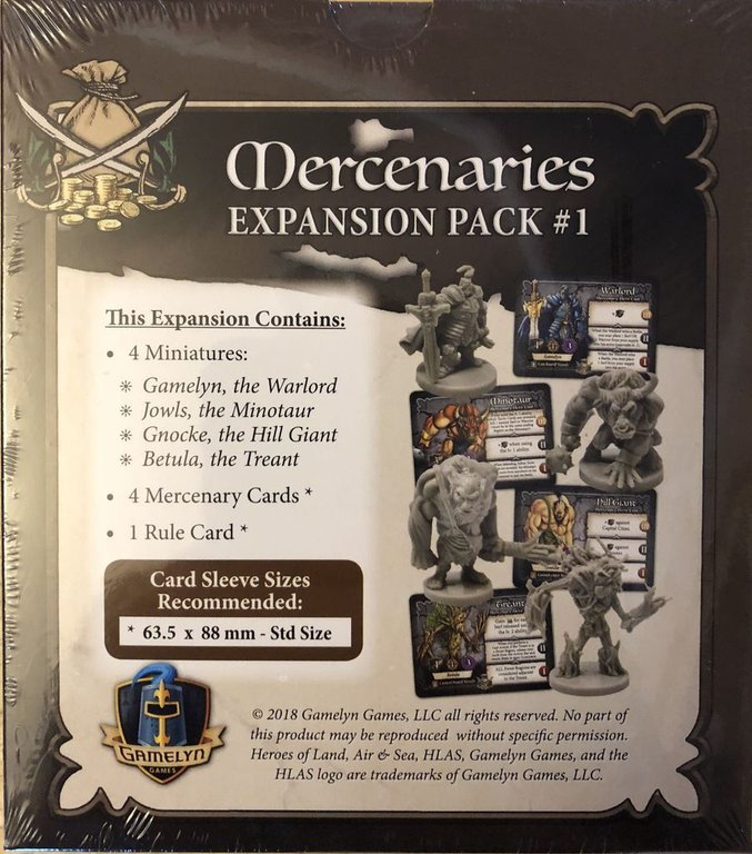 Heroes of Land, Air & Sea: Mercenaries Expansion Pack #1 back of the box