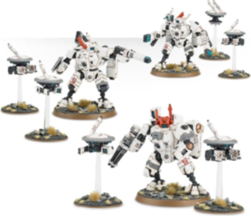 Warhammer 40.000 Tau Empire XV8 Crisis Battlesuit Team miniatures