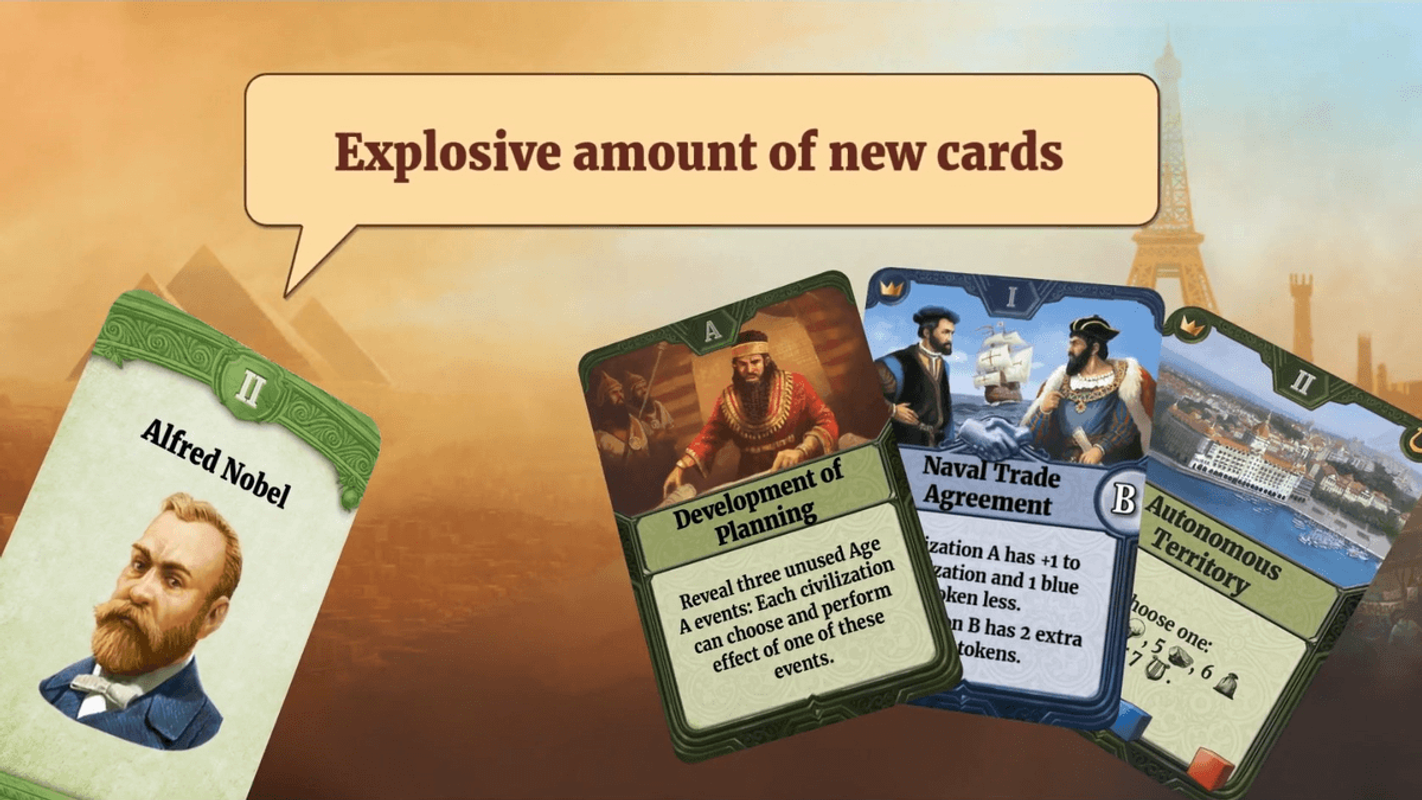 Through the Ages: New Leaders and Wonders cards