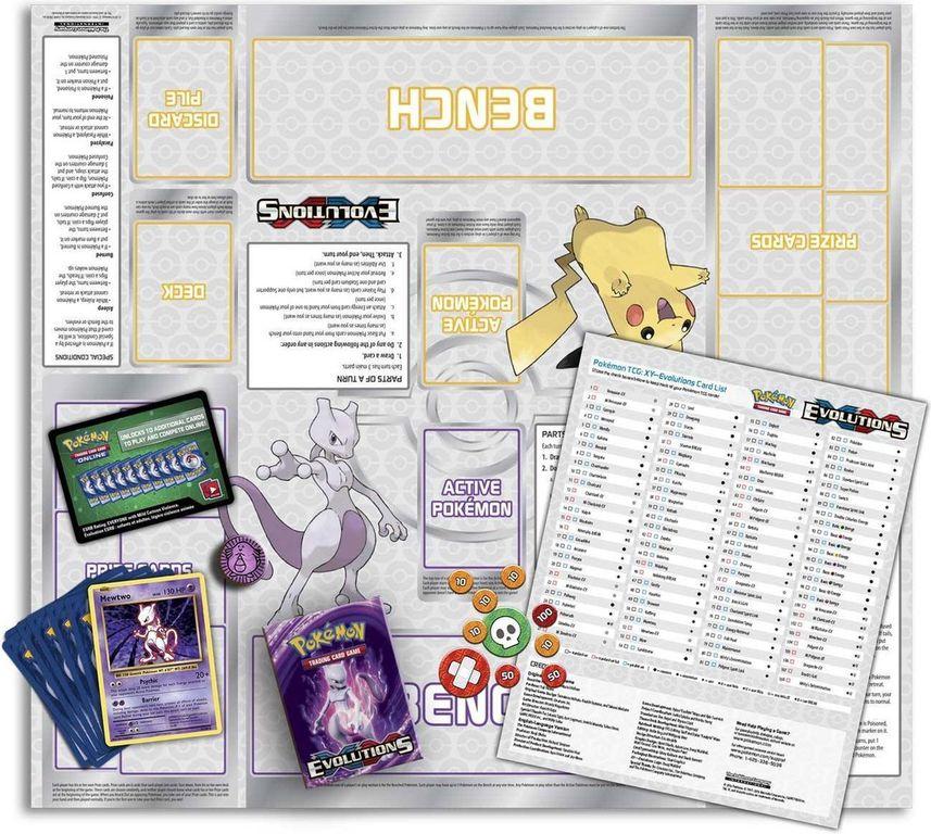 Pokemon XY Evolutions: Mewtwo Mayhem Theme Deck components