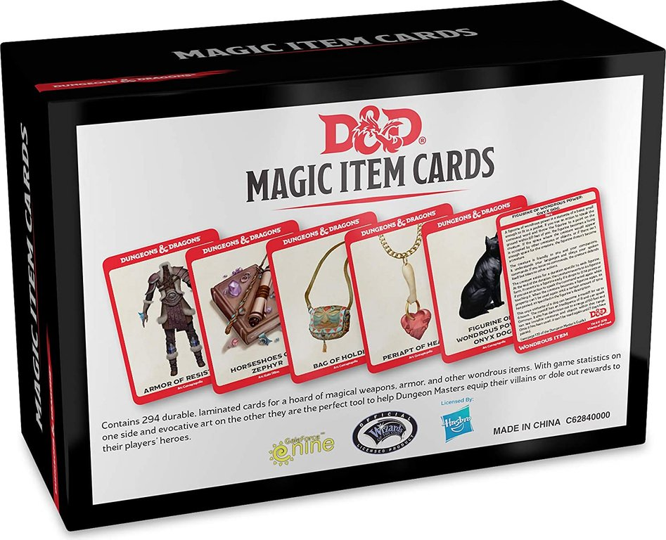 Magic Item Cards back of the box
