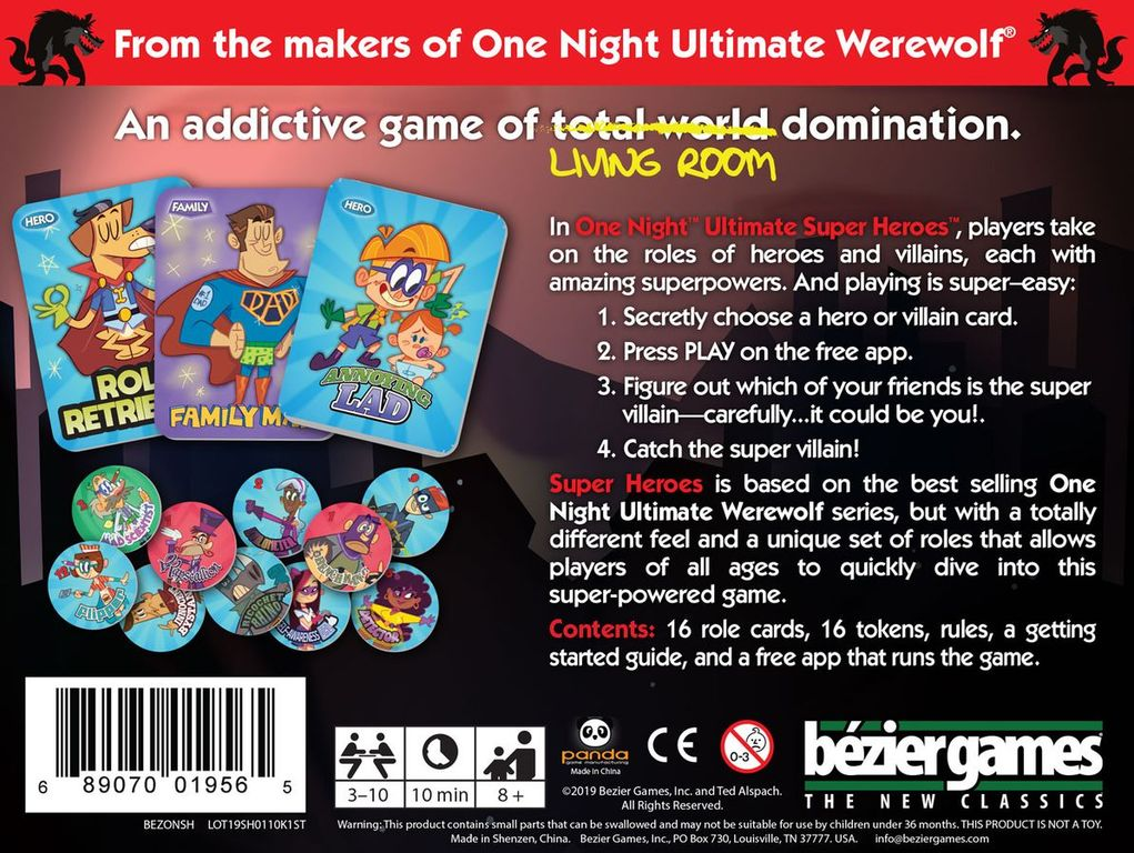 One Night Ultimate Super Heroes back of the box
