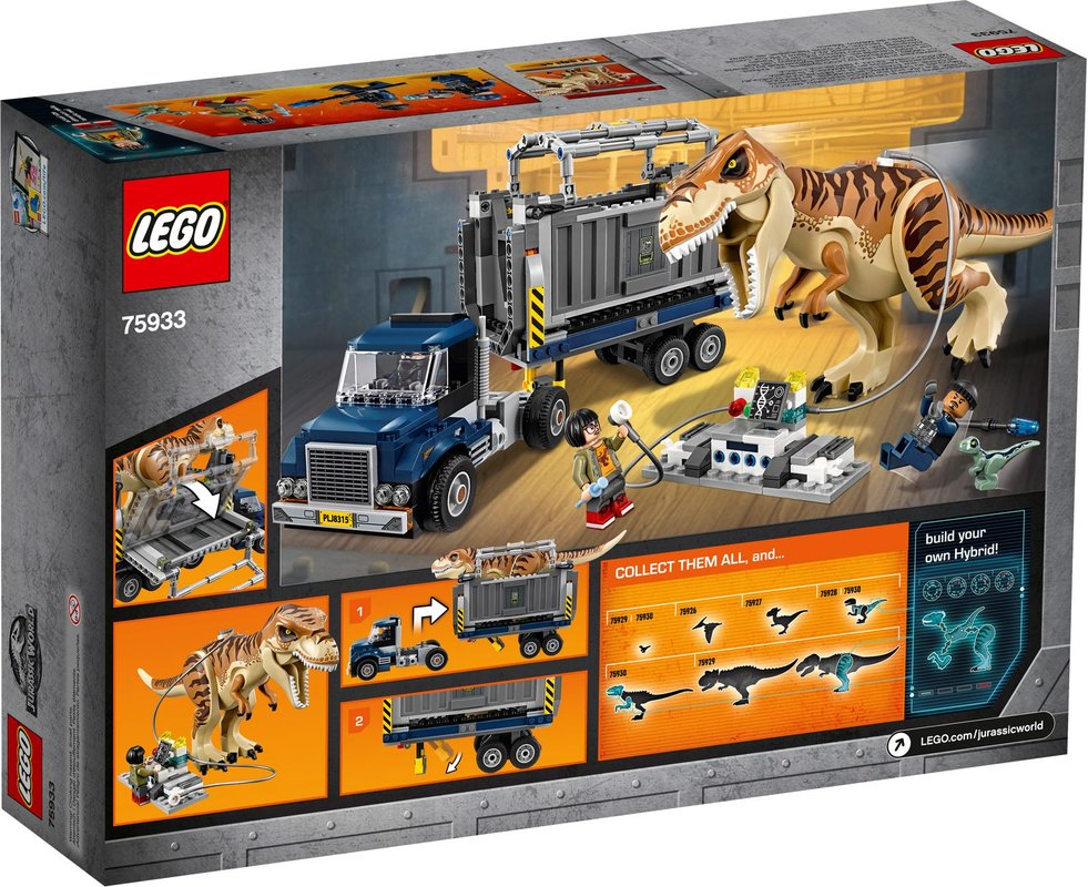 T. rex Transport back of the box