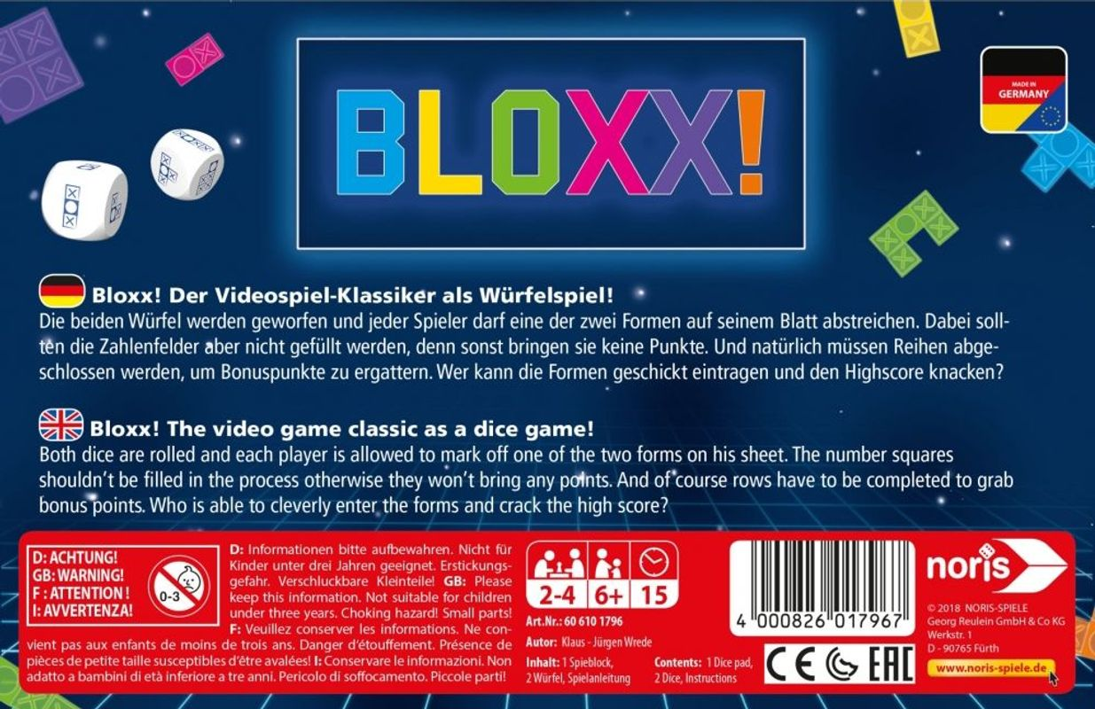Bloxx! back of the box