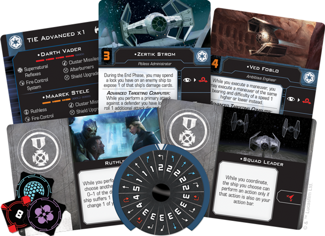 Star Wars: X-Wing (Second Edition) - TIE Advanced x1 Expansion Pack components