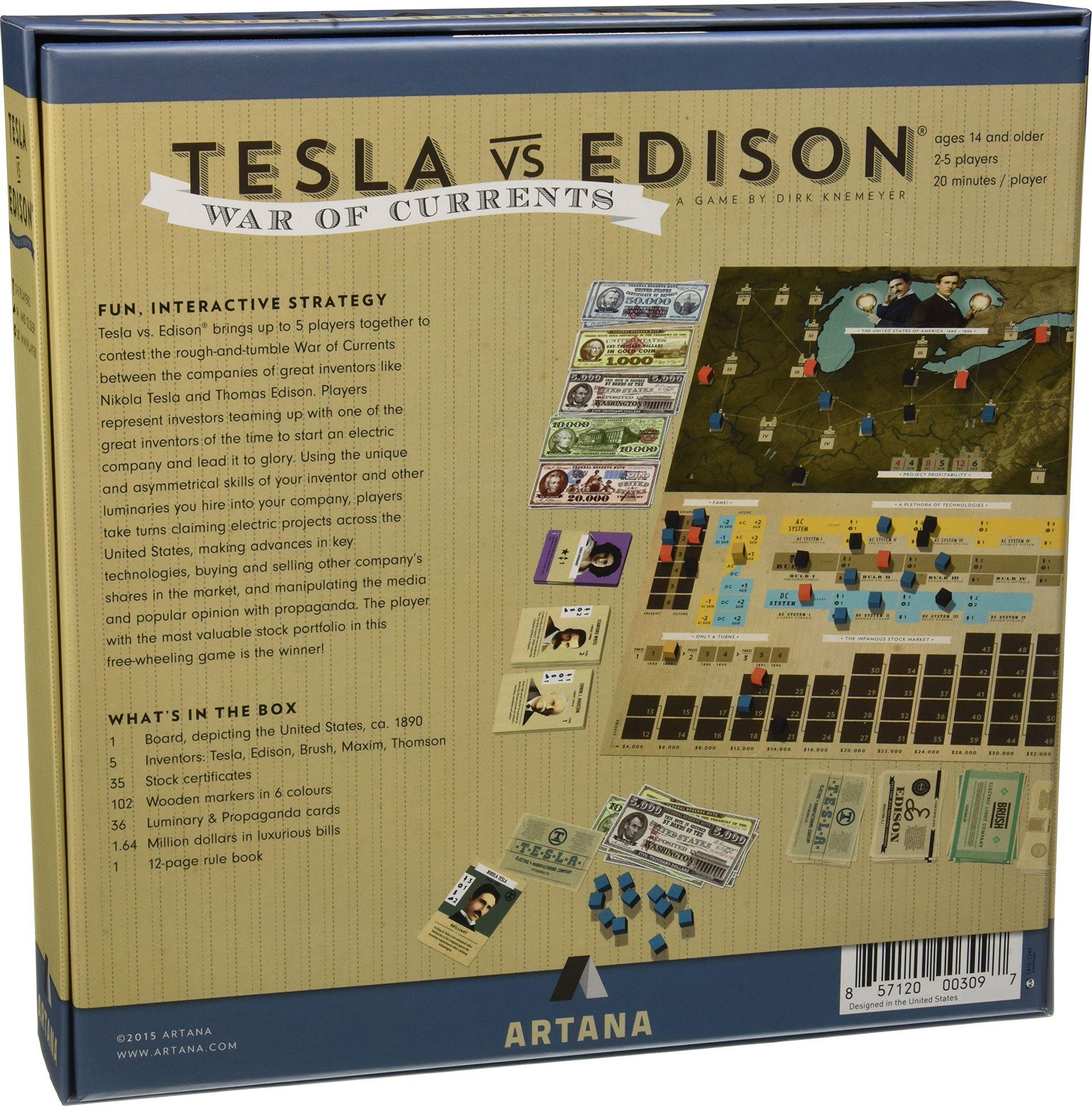 Tesla vs. Edison: War of Currents back of the box