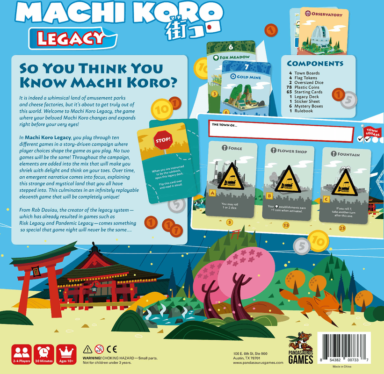 Machi Koro Legacy back of the box