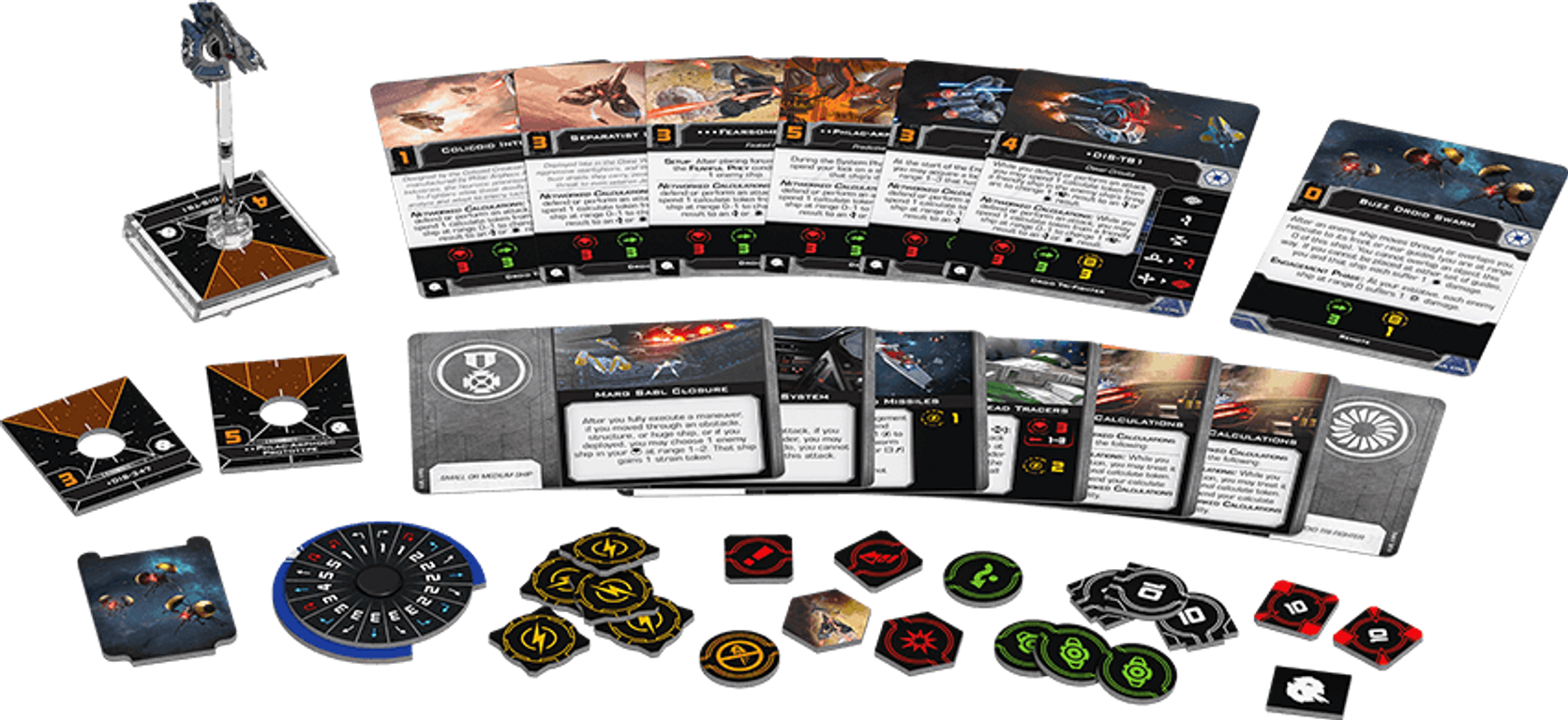 Star Wars: X-Wing (Second Edition) – Droid Tri-Fighter Expansion Pack components