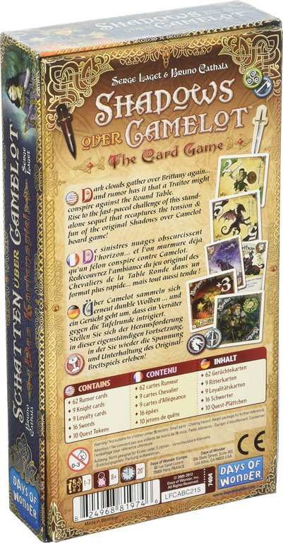Shadows over Camelot: The Card Game back of the box