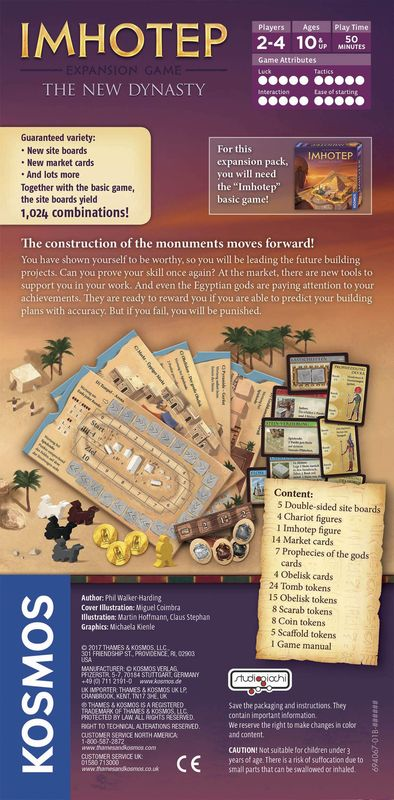 Imhotep: A New Dynasty back of the box