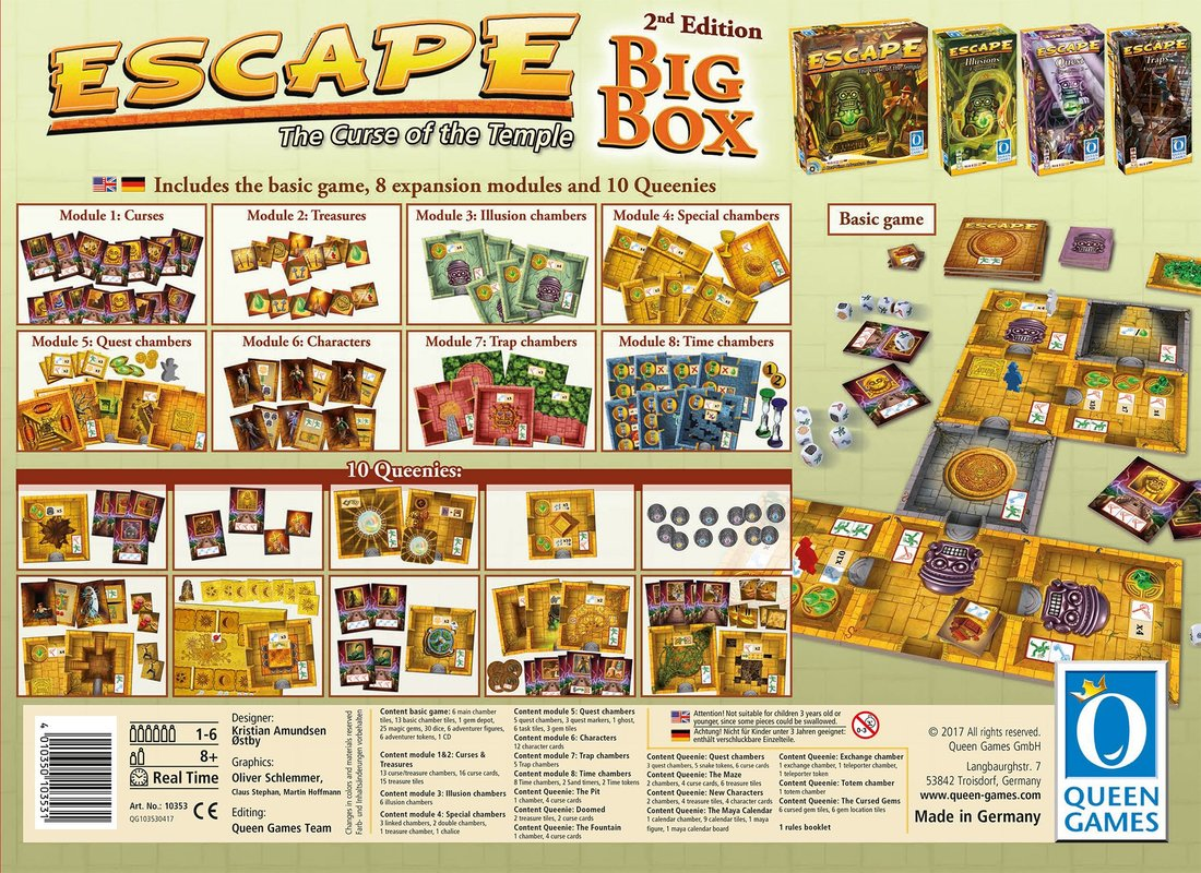 Escape The Curse of the Temple - Big Box 2nd Edition back of the box