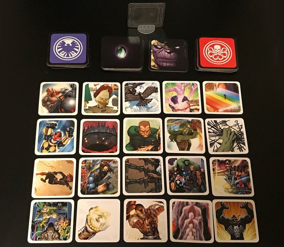 Codenames: Marvel components