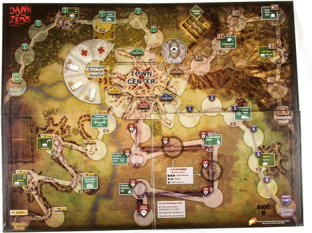 Dawn of the Zeds (Third edition) game board