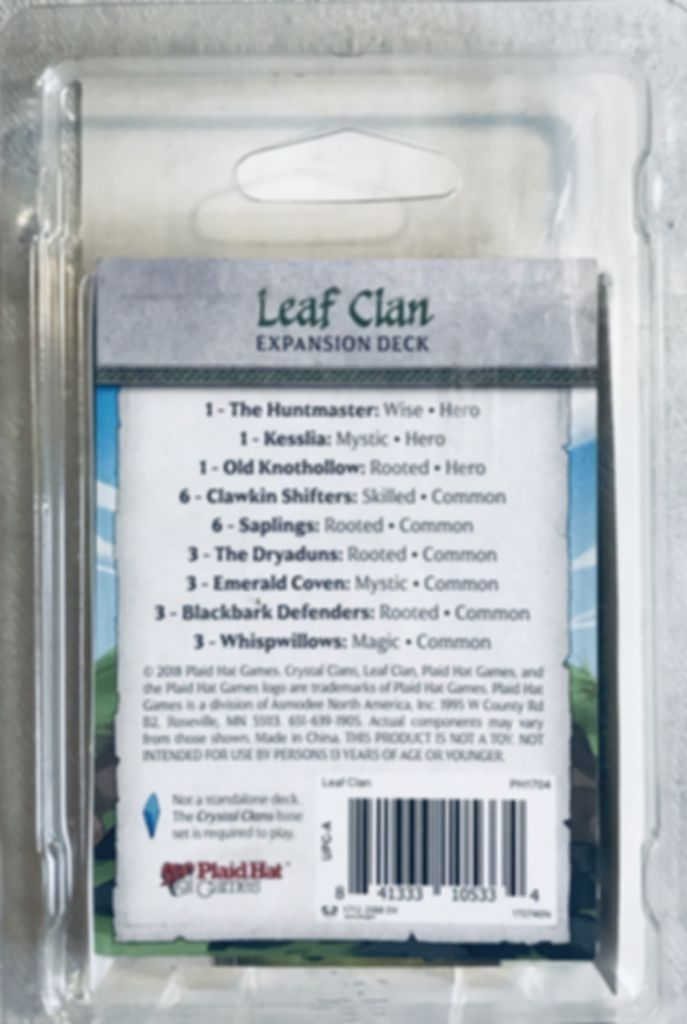 Crystal Clans: Leaf Clan back of the box