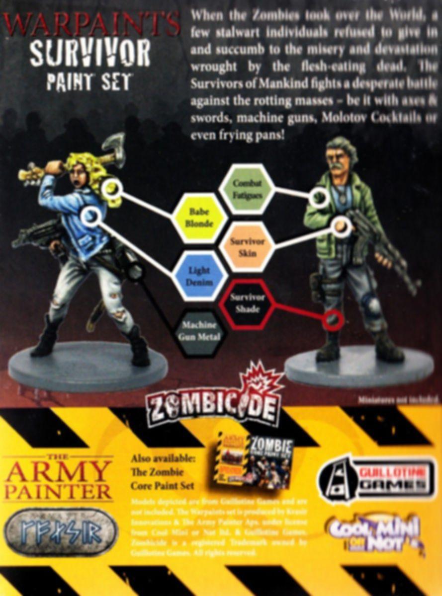 Zombicide Survivor Paint Set back of the box