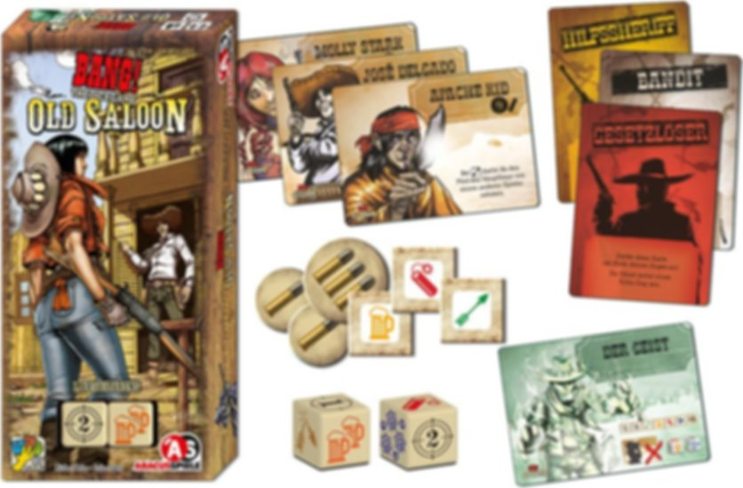 BANG! The Dice Game - Old Saloon components
