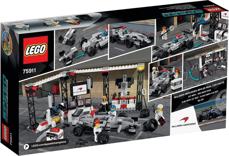 LEGO® Speed Champions McLaren Mercedes Pit Stop back of the box