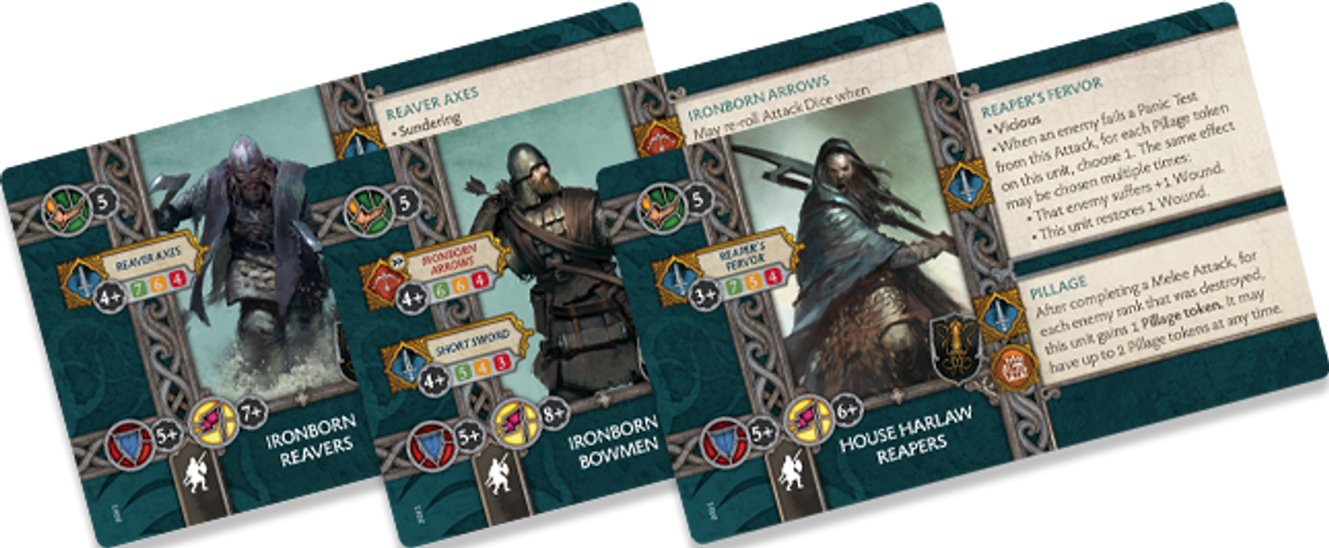 A Song of Ice & Fire: Tabletop Miniatures Game – Greyjoy Starter Set cards