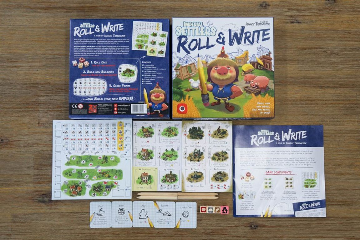 Imperial Settlers: Roll & Write components