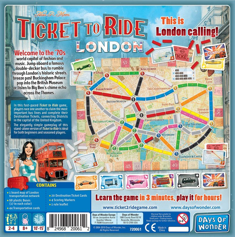 Ticket to Ride: London back of the box