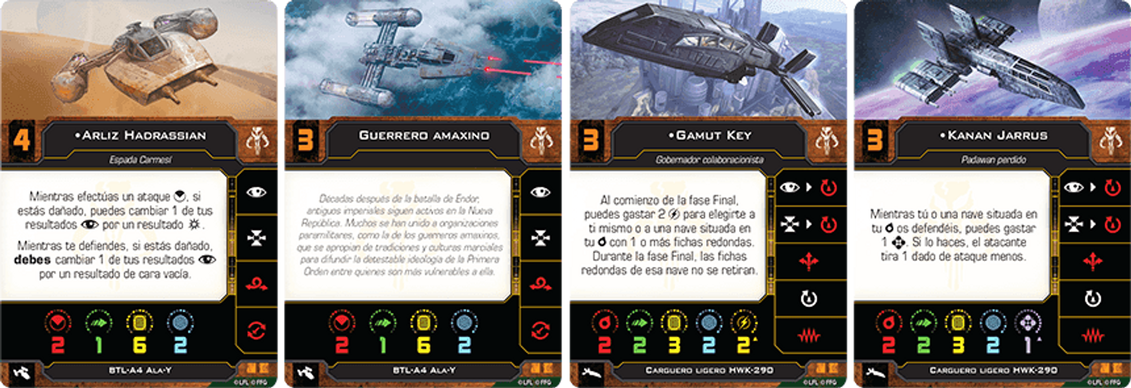 Star Wars: X-Wing (Second Edition) – Fugitives and Collaborators Squadron Pack cards