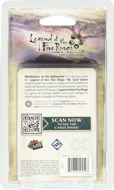 Legend of the Five Rings: The Card Game - Meditations on the Ephemeral back of the box