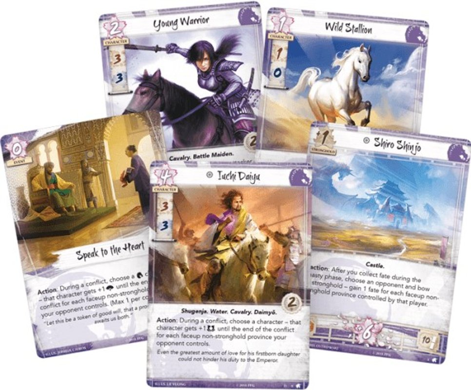 Legend of the Five Rings: The Card Game - Warriors of the Wind: Unicorn Clan Pack cards