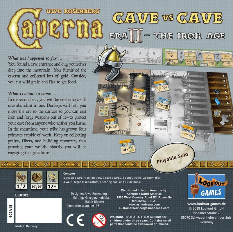 Caverna: Cave vs Cave - Era II: The Iron Age back of the box