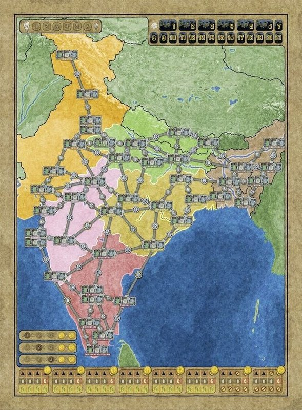 Power Grid: Australia & Indian Subcontinent game board