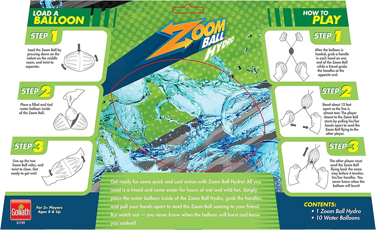 Zoomball Hydro back of the box