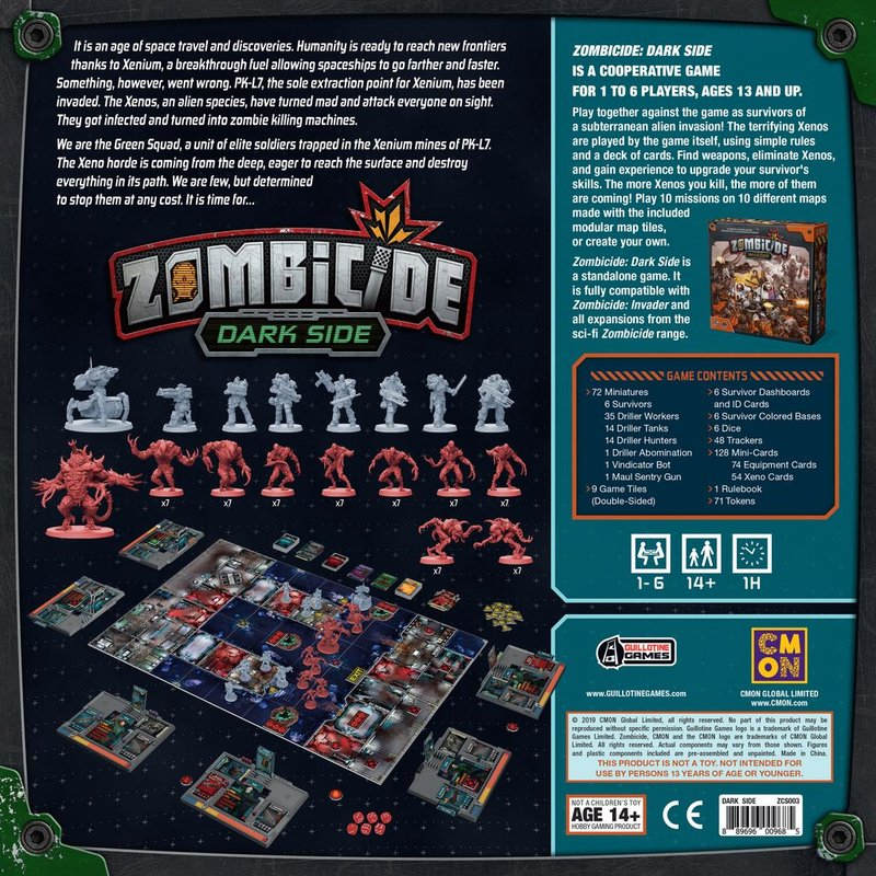Zombicide: Dark Side back of the box
