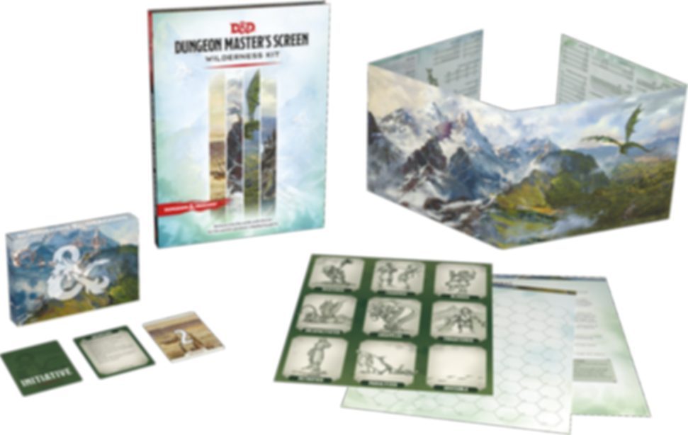 Dungeon Master's Screen Wilderness Kit components