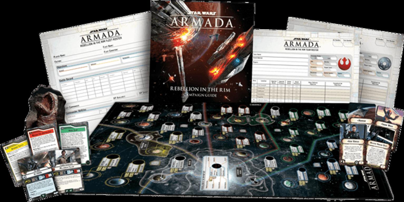Star Wars Armada: Rebellion in the Rim components