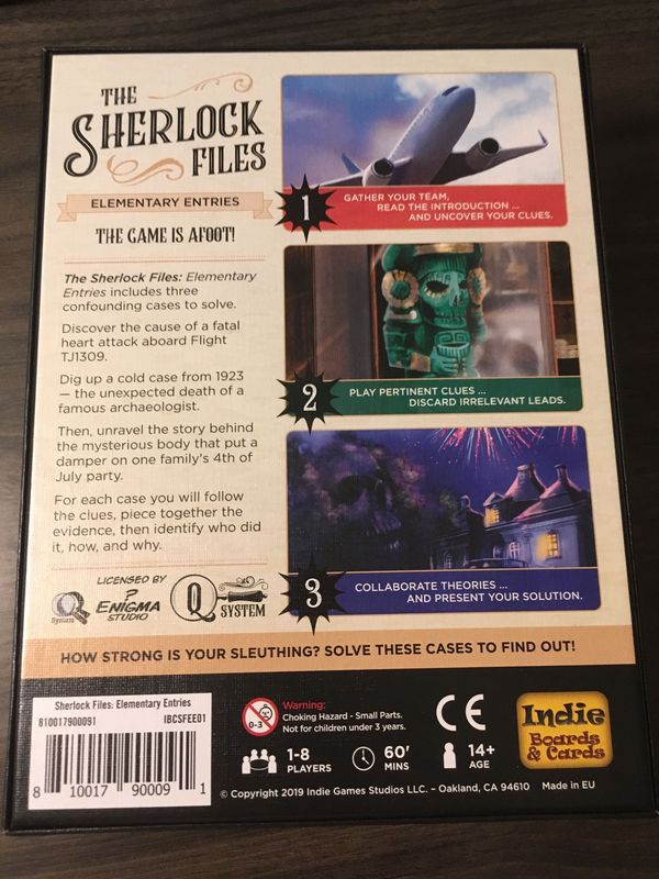 The Sherlock Files: Elementary Entries back of the box